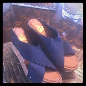 Shoes - Blue Wedge Canvas Sandals
